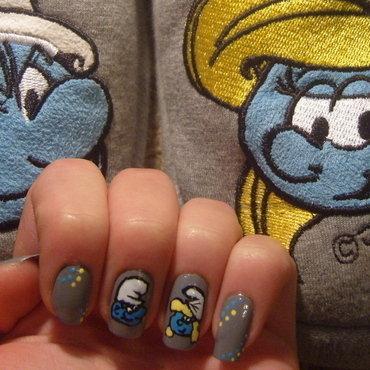 Smurfs ;) nail art by Lakierowniczka