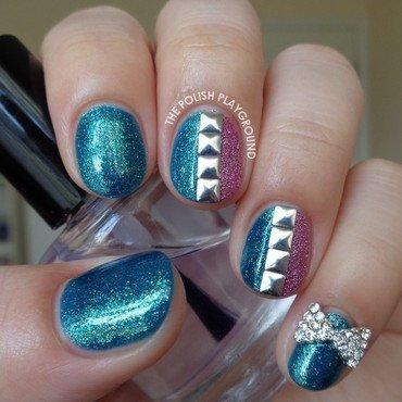 Texture and Square Studs Nail Art nail art by Lisa N