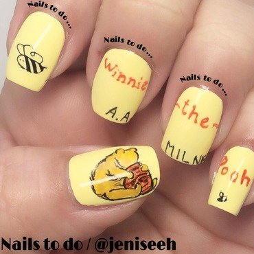 Winnie the Pooh cover nail art by Jenny Hernandez