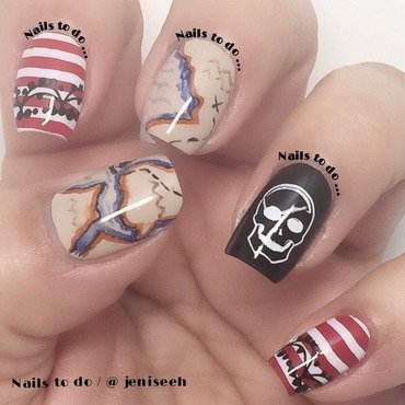Pirate map nail art by Jenny Hernandez
