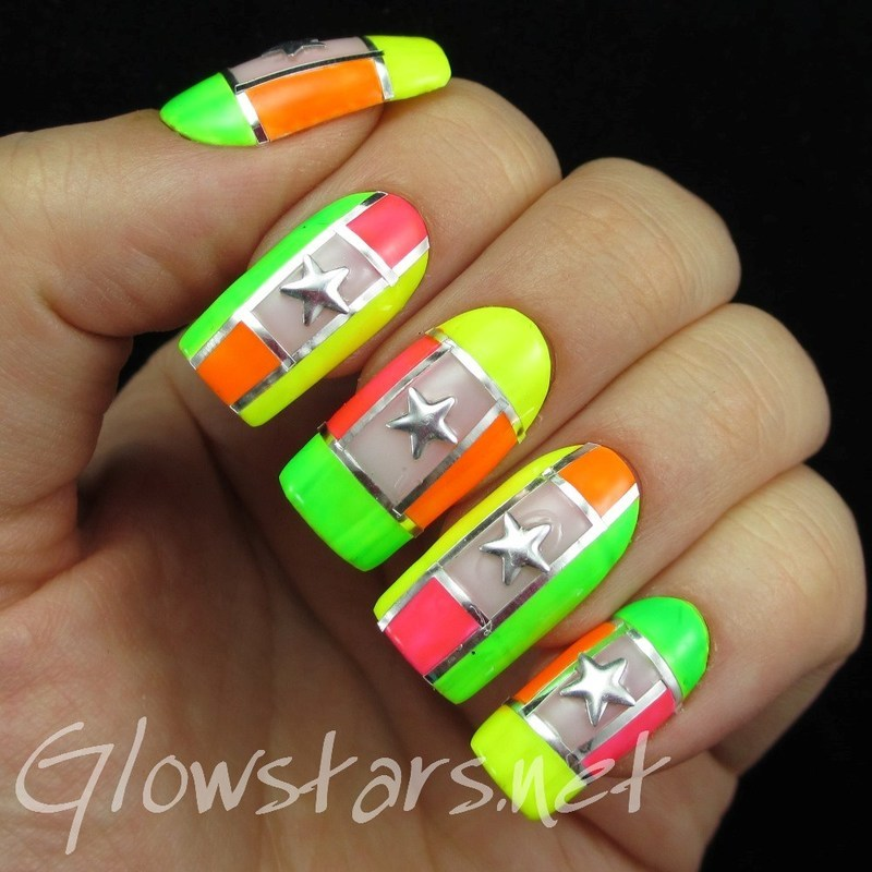 Neon colour blocking and stars nail art by Vic 'Glowstars' Pires