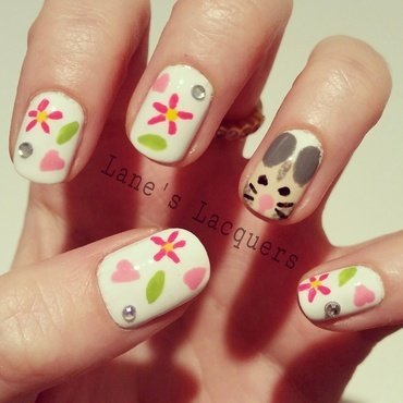 Barry m hand painted happiness hamster love flowers sparkle nail art thumb370f