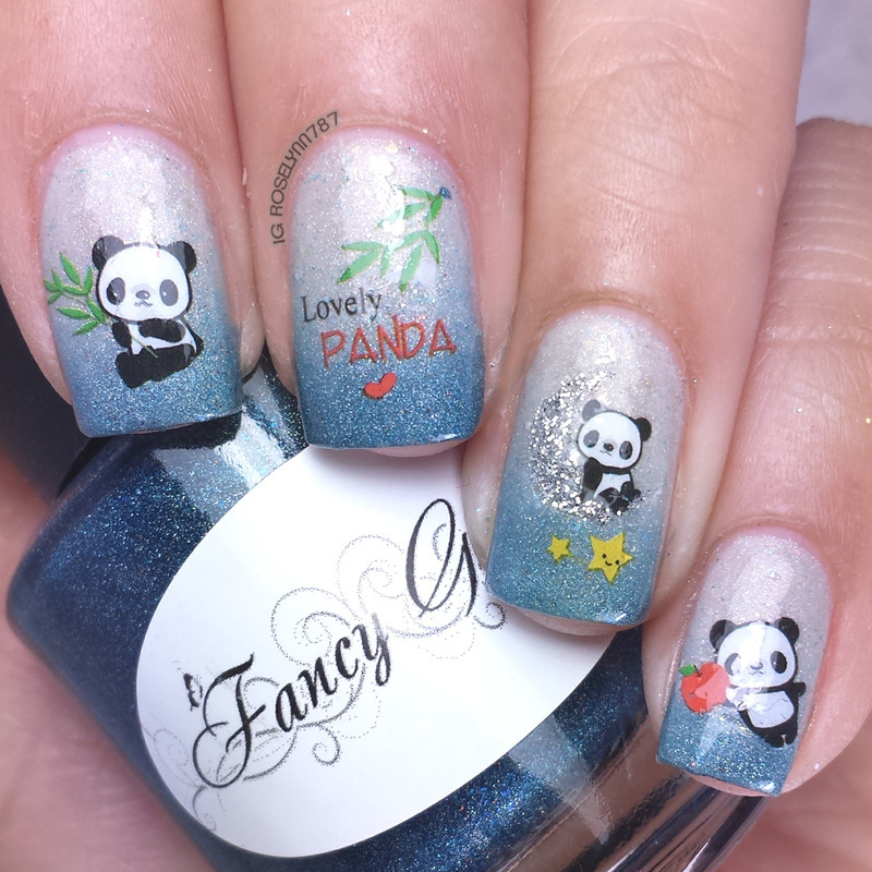 Born Pretty Store - Panda Decals nail art by Rose Mercedes