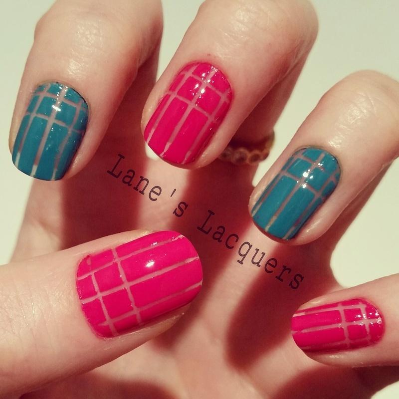 Striped Negative Space nail art by Rebecca