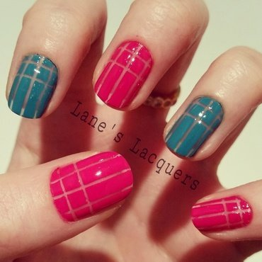 Striped Negative Space nail art by Rebecca