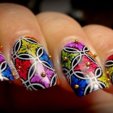 Vibrant shot nail art by Nicky