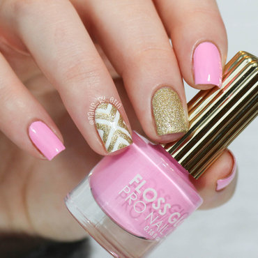 Pink and Gold Nails nail art by Erin