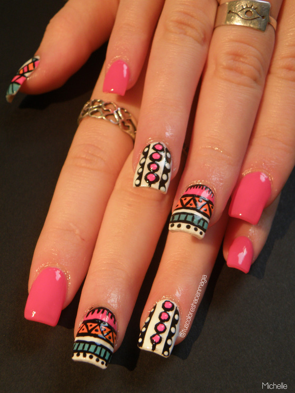 Tribal and Pink ♥ nail art by Michelle Mullett