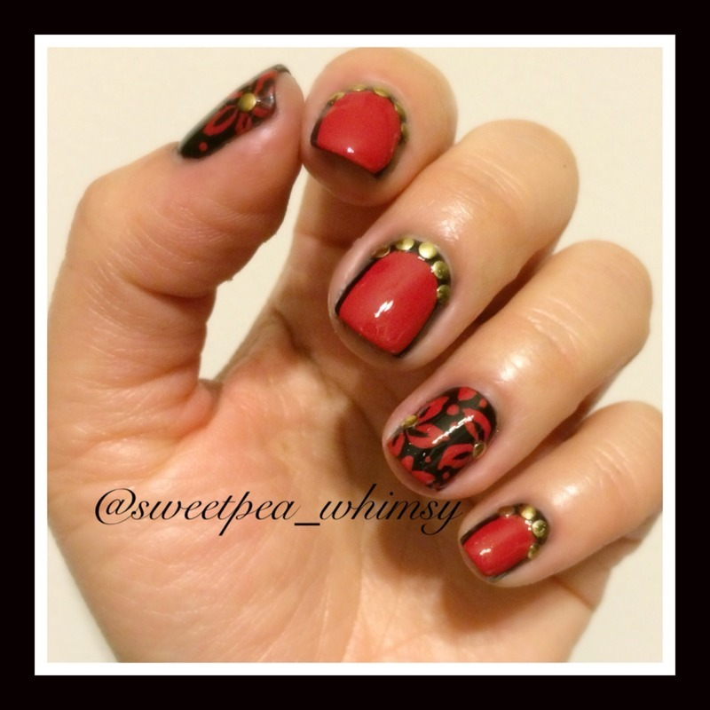 Bold Red & Black nail art by SweetPea_Whimsy