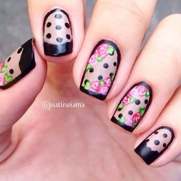 Nude Floral nail art by ℐustine
