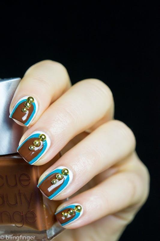 Studded Ruffian nail art by  Petra  - Blingfinger