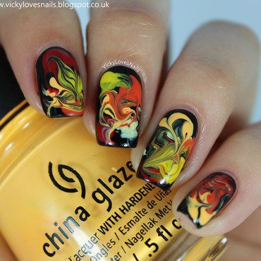 Fire-y Drag Marble nail art by Vicky Standage