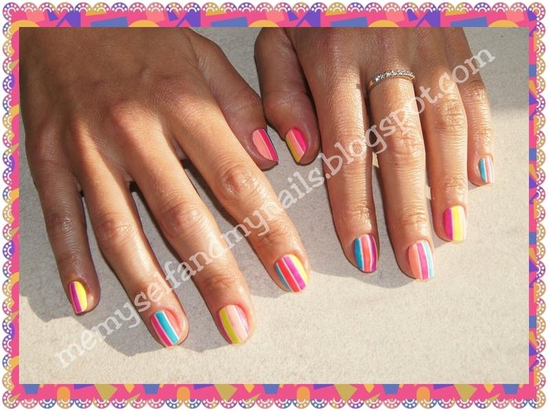 Summer stripes nail art by ELIZA OK-W