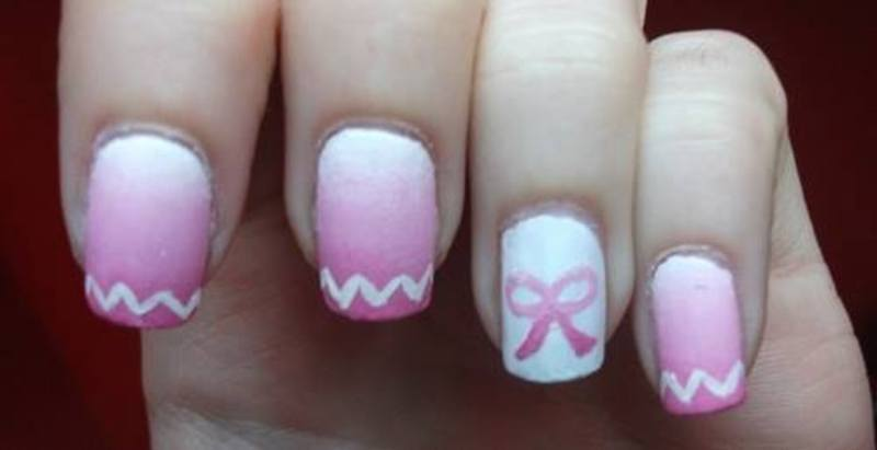 pink ribbon nail art by Dominika Boruta