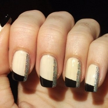 nudes, blacks and glitter nail art by Dominika Boruta