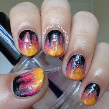 The Hunger Games Fire Inspired Nails nail art by Lisa N