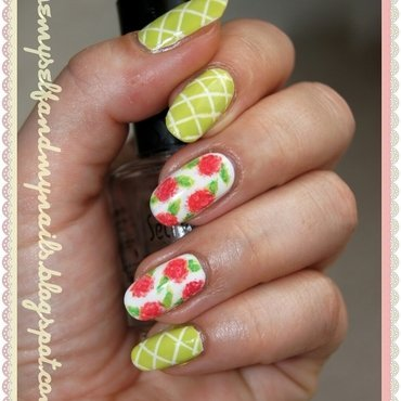 Roses on pergola nail art by ELIZA OK-W