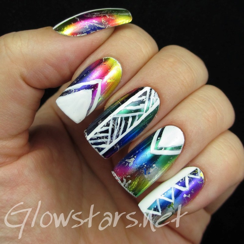 Patterns on rainbow foils nail art by Vic 'Glowstars' Pires