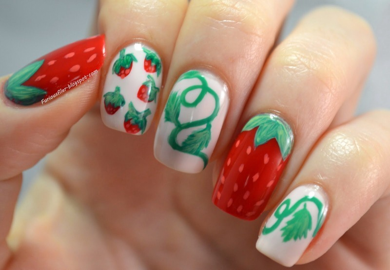 Strawberry Bliss nail art by Furious Filer