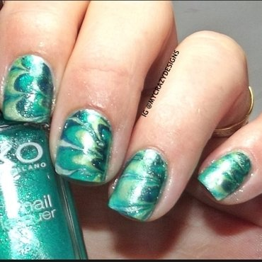 Green water marble nail art by Mycrazydesigns