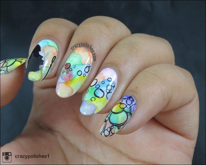 Bubbles nail art by CrazyPolishes (Dimpal)