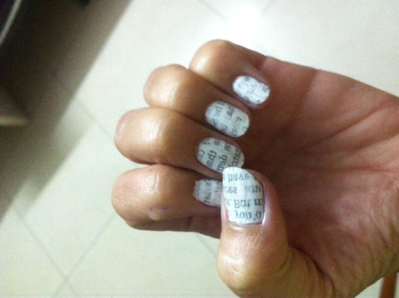 Newspaper art nail art by Ruchi