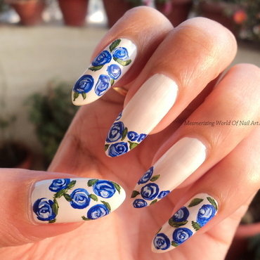 Blue Roses nail art by Anubhooti Khanna