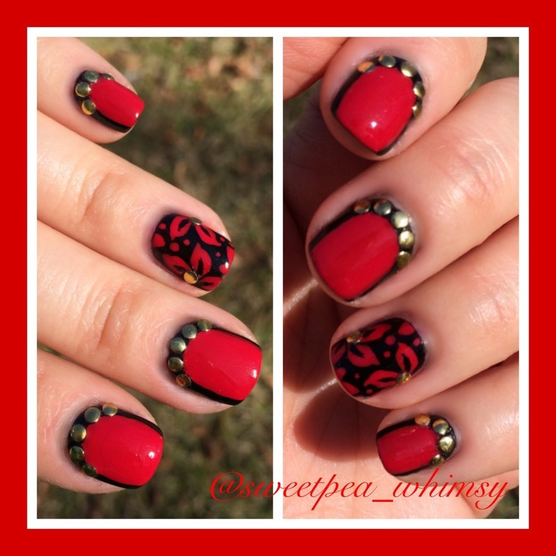 Bold Red & Black (Outdoors) nail art by SweetPea_Whimsy