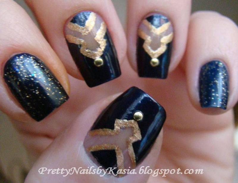Navy Blue Gold Nail Art By Pretty Nails By Kasia Nailpolis