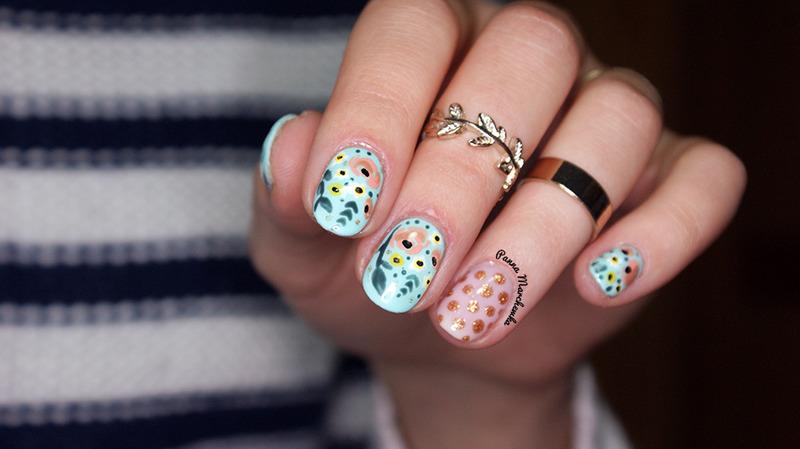 Flower Nails nail art by Panna Marchewka