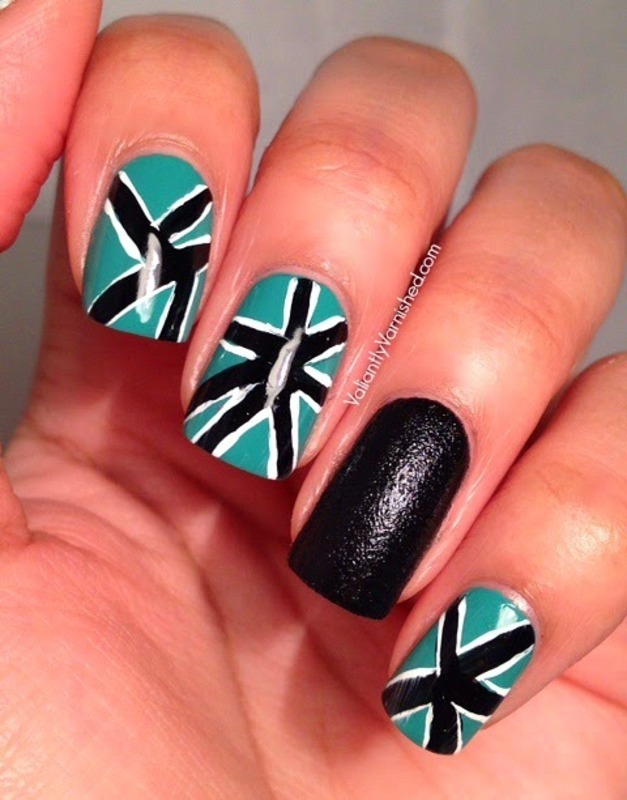 Freehand Geometric Nail Art nail art by Valiantly Varnished