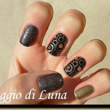 Black & golden manicure with golden beads nail art by Tanja