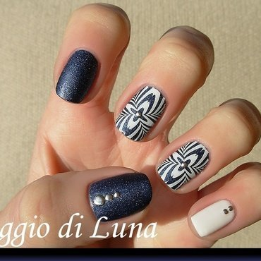White geometric stamping manicure on blue jeaned nail art by Tanja