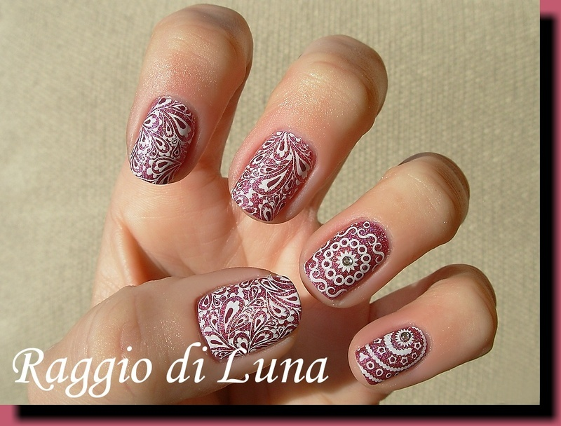 Butterfly theme stamping manicure nail art by Tanja
