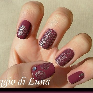 Silver rose on wine nail art by Tanja