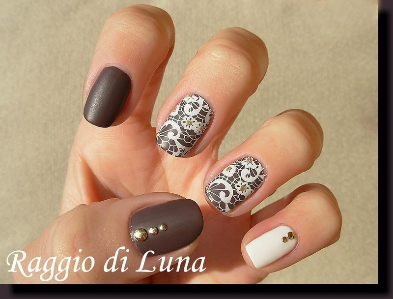 White lace flowers on taupe nail art by Tanja