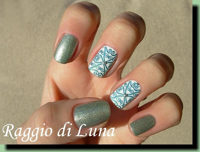 Green swirly stamping design skittlette nail art by Tanja
