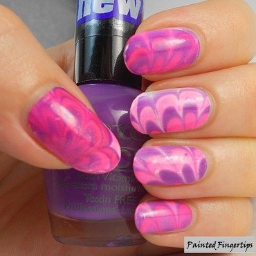 Pink and purple water marble nail art by Kerry_Fingertips
