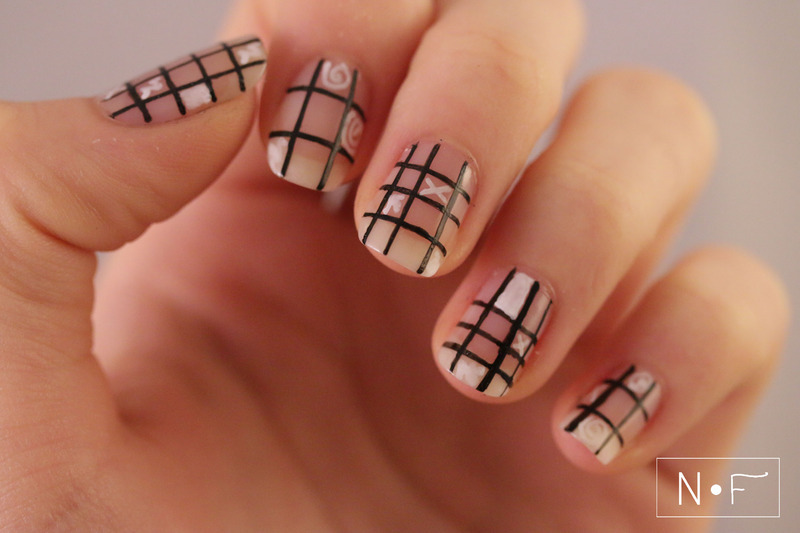 Grid nails with doodles nail art by NerdyFleurty