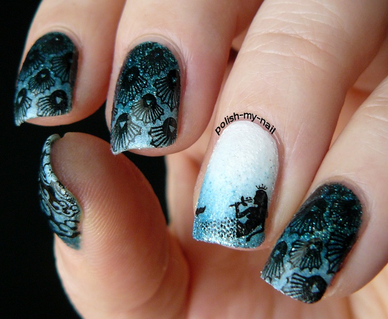 Gorgeous Mermaid With Shell Stamping Nails nail art by Born Pretty