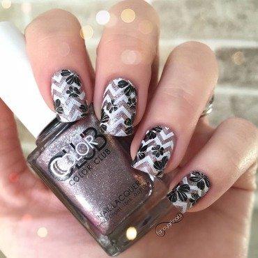 Floral chevron nail art by Anna-Maria D
