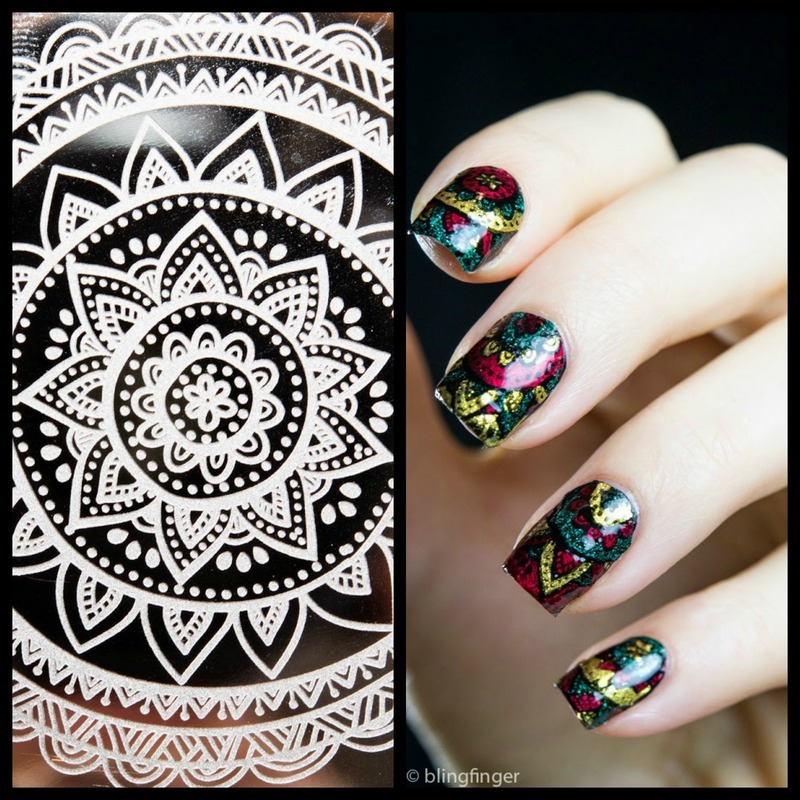 Mandala Stamping Decals nail art by  Petra  - Blingfinger