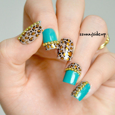 Leopard print nails with studs from bornprettystore nail art by ssunnysideup (Sabrina)