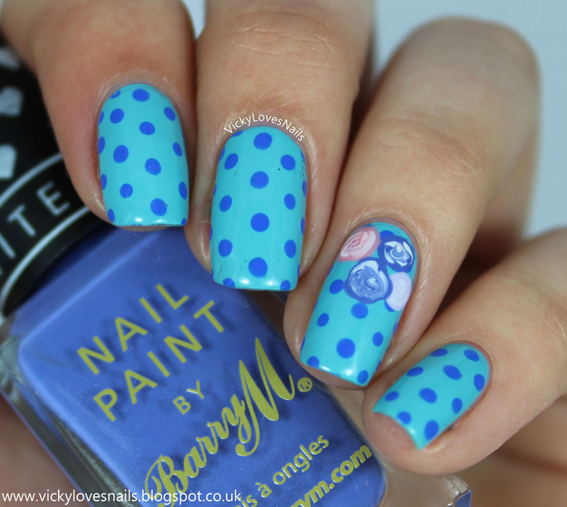 Blue Dotticure with Pastel Roses nail art by Vicky Standage