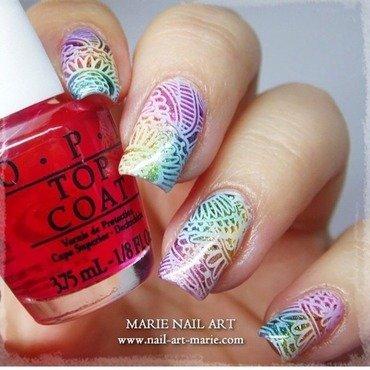 Rainbow Stamping Nail Design nail art by Marie Nail Art