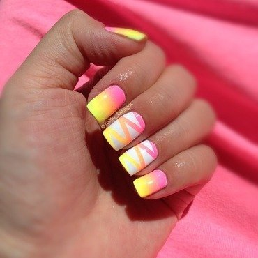Summer Lines nail art by JMura_Designs