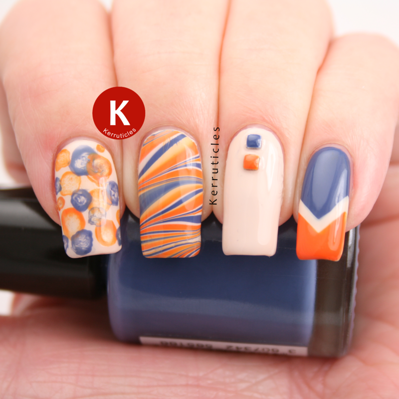 "Orange, blue and cream ""kitchen sink"" manicure nail art by Claire Kerr"