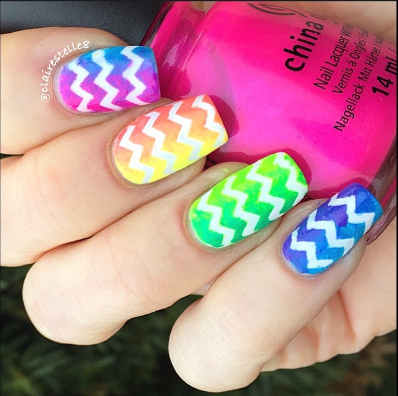 Rainbow neon gradient  nail art by Claire O'Sullivan
