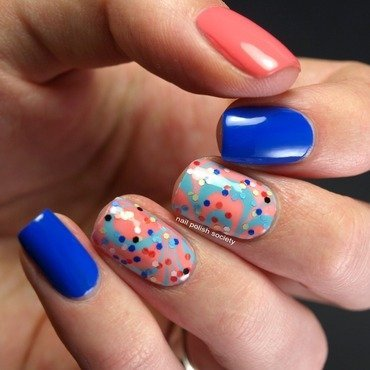 Sprinkles Water Marble nail art by Emiline Harris