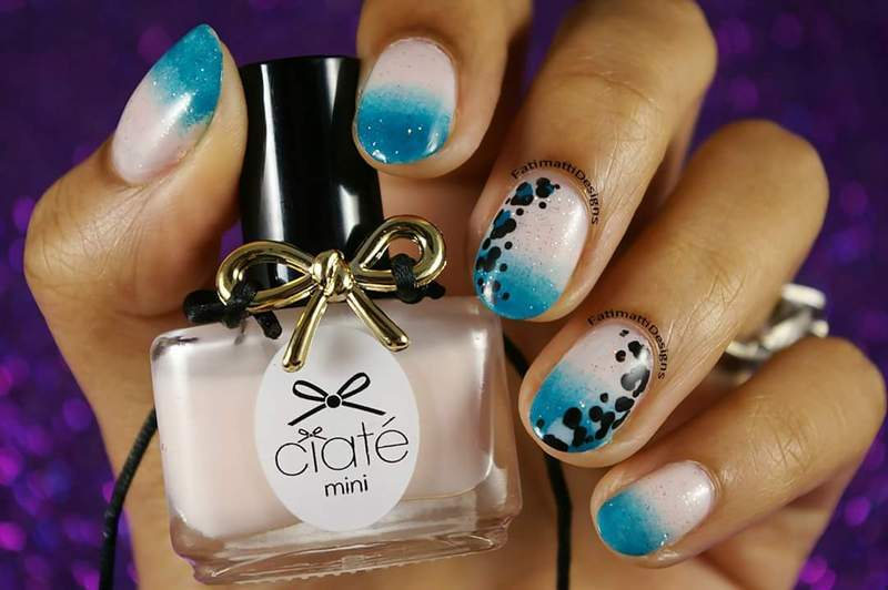 Beachy Gradient With Leopard  nail art by Fatimah
